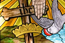 God releasing dove with cross and crown
